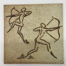 Vtg Semigres Italy Stoneware Glazed Etched Tile Nude Male Archers 8""