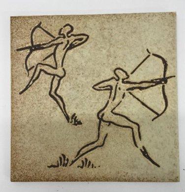 "Vtg Semigres Italy Stoneware Glazed Etched Tile Nude Male Archers 8"""