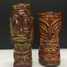 Pair Hawaiian Tiki Farm Pottery Ceramic Glazed Glasses Vases