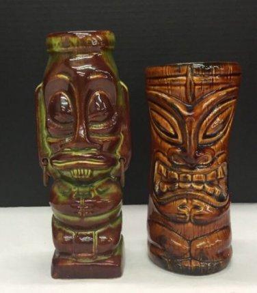 Pair Hawaiian Tiki Farm Pottery Ceramic Glazed Glasses Vases