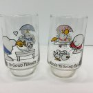 2 Vtg Ziggy 7 Up Glass Tumblers Here's to Good Friends 1974 1976 Tom Wilson