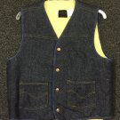 Vtg Sears Roebucks Denim Sherpa Lined Vest New Old Stock Sz M