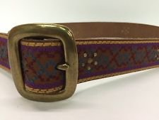 Vtg Lucky Brand Thick Leather Belt Brass Buckle Cross Stitch Ethnic XL