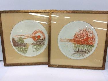 Vtg Pair Of Gonshaw Framed Wood Block Prints Round Artist Signed 80/250