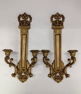VTG Pair pr Hollywood Regency mid century gold SYROCO Candle Holder Wall Sconce