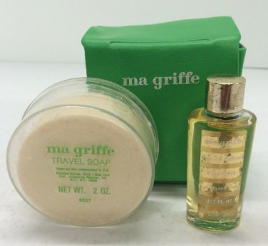 Ma Griffe By Carven Vinyl Travel Set With Round Soap & 1/2 oz EDT Full bottle