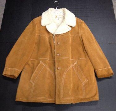 VTG 1970s LAKELAND Heavy Suede Sherpa Lined Jacket Coat sz XL 50 Long