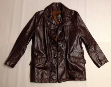 VTG Cooper Heavy Brown Leather Fight Club Jacket Coat Zipper Lined SZ 40