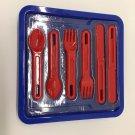 Vtg Kalor Plastic Picnic Tray Set  Utensils For Four Modernist Panton Era IKEA?