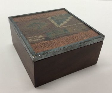 Vtg Indian Woven Tapestry Square Wooden Trinket Box Silverplate Glass