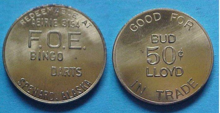 Spenard AK Fraternal Order of Eagles Aeirie 3154 50c token