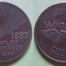 Chicago IL CPIE 1933 Johnson Gasolene Winged 70 advertising token