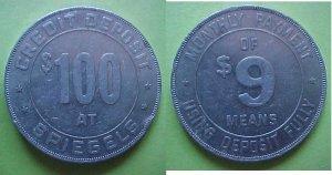 Chicago IL Spiegel's $100 Credit Deposit advertising token