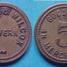 Chapman & Wilcox Tavern 5c merchant token