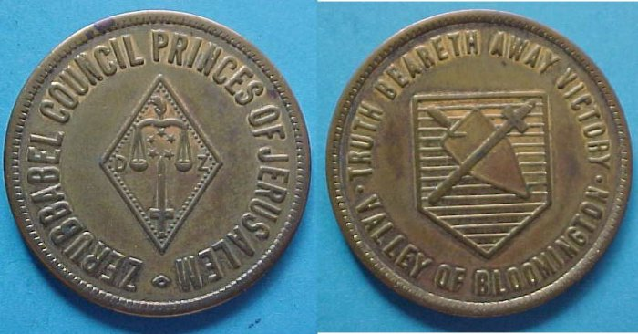 Bloomington IL Zerubbabel Chapter Princes of Jerusalem Masonic Scottish Rite medal