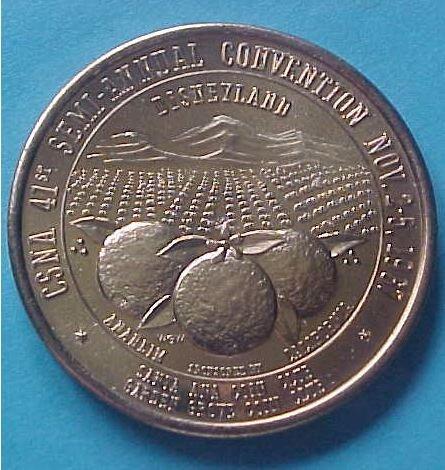 California State Numismatic Association CSNA Fall 1967 medal - Orange County
