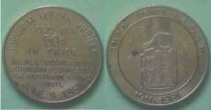 Burnham PA Golden Jubilee 1961 50c municipal trade token