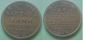 Rogers Park IL Rogers Park National Bank 50c on deposit merchant token