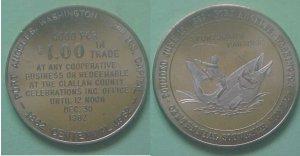 Port Angeles WA Centennial 1962 $1.00 municipal trade token