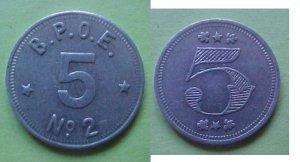 Philadelphia PA BPOE Elks No. 2 5c merchant token