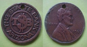 Arizona - State Bank Of Arizona 1965 medal - Lincoln cent