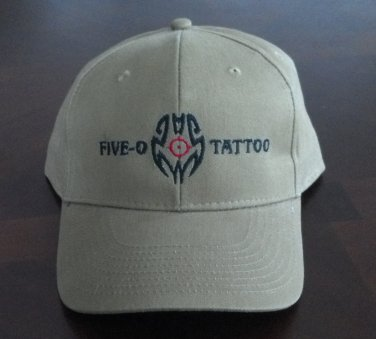 Hat baseball cap Tan Five-O Tattoo NWOT cop badge logo embroidered