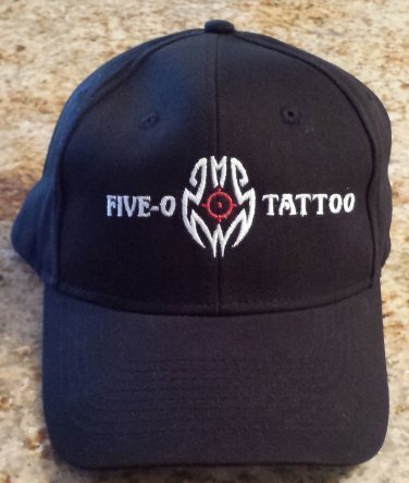 Hat baseball cap Black Five-O Tattoo NWOT cop badge logo embroidered