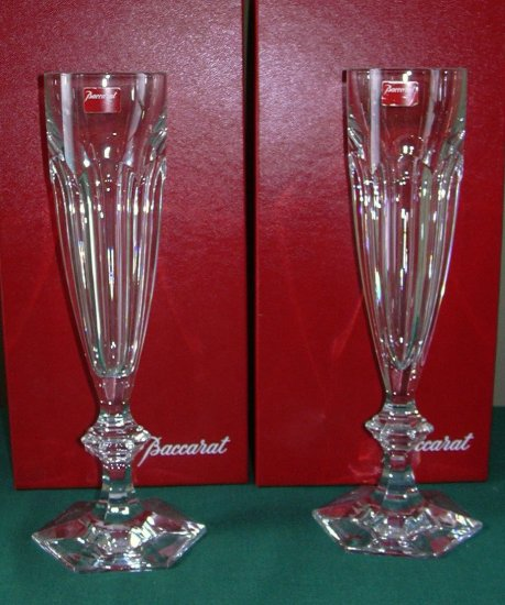 BACCARAT HARCOURT TALL FLUTE PAIR *NEW IN BOX* STUNNING