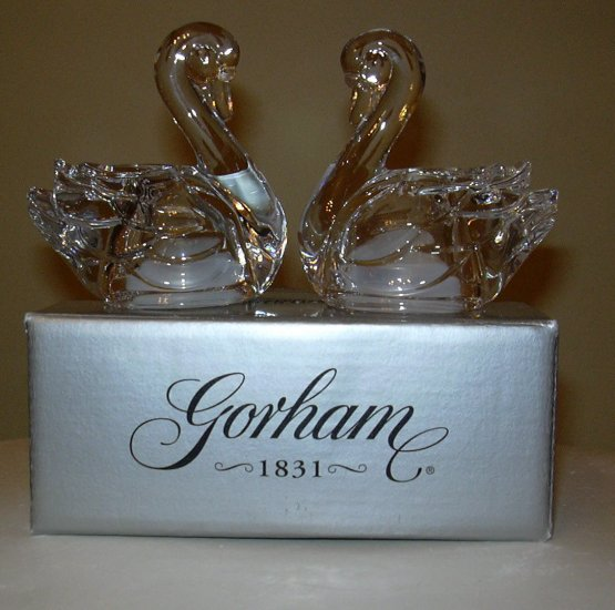 GORHAM SWAN SALT & PEPPER SHAKERS *NEW IN BOX*