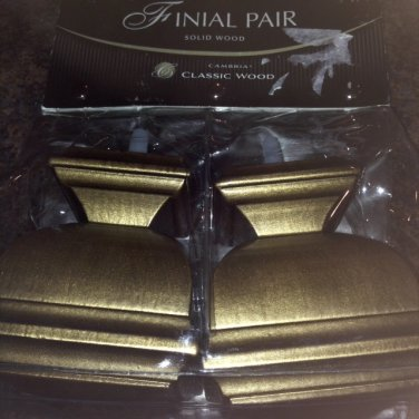 Curtain Rod Finial Pair Wood Cambria Napolean Gold
