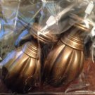 Curtain Rod Wood Finial Pair Cambria Flute Finial Gold
