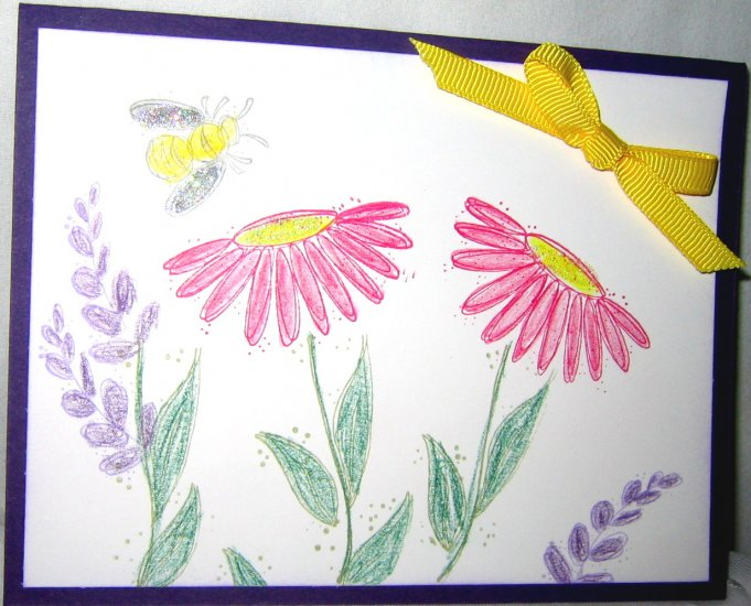 Handmade Card - Flowers and Bees