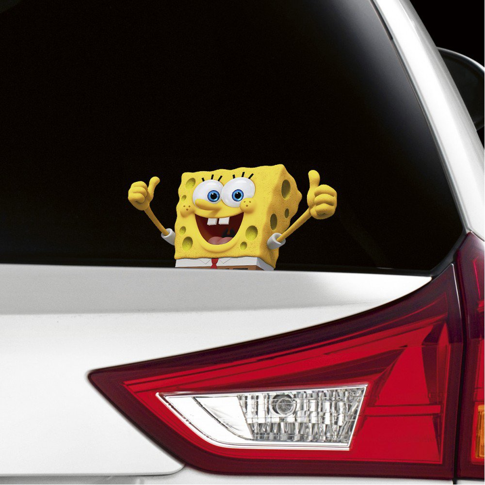 SpongeBob Peeking on Board Funny Joke Novelty Car Bumper Window Sticker Decal Full Colour
