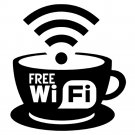 FREE WIFI CUP COFFEE TEA INTERNET SIGN CAFE, BAR, CLUB, OFFICE, SHOP WINDOW WALL STICKER DECAL x1