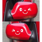 SMILE FACE CAR WING DOOR MIRROR STICKERS DECAL GIFT BIRTHDAY XMAS NEW WHITE