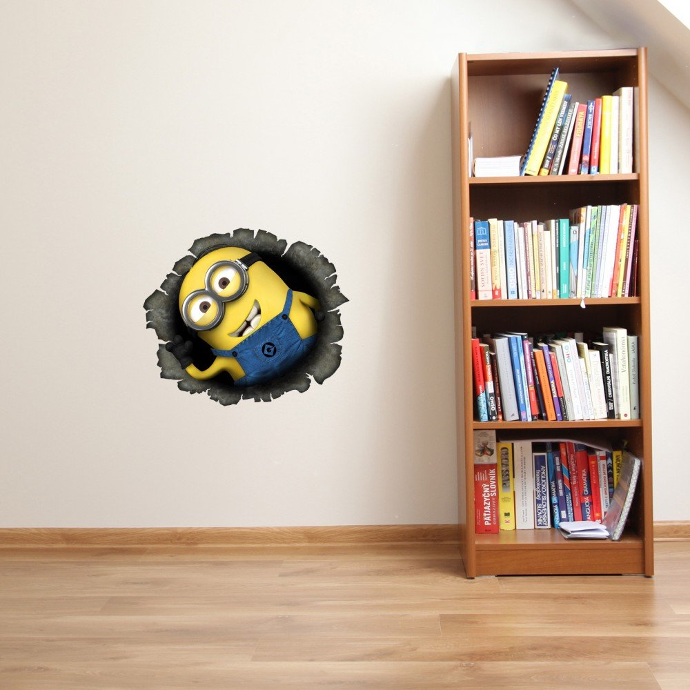 DESPICABLE ME 2 MINION IN HOLE FULL COLOUR VINYL DECAL BEDROOM WALL WINDOW STICKER GIFT MEDIUM