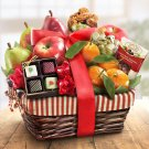 High Quality Deluxe SHoliday Treasures Fruit and Gourmet Basket