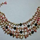 Vintage Shell Chip*Seed Beads*Round Beads*4 Strand Choker Necklace*Japan*