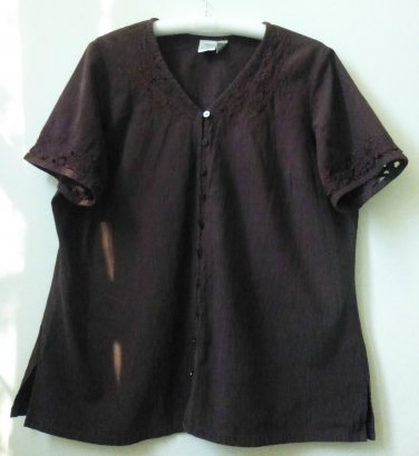 Brown Short Sleeve Button Downs Blouse*Shirt*Embroidery Embellished*Size 18-20