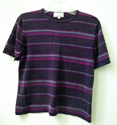 KASPER A.S.L. Knit Short Sleeve Top*Striped*Multi-Color*100% Silk*Size S