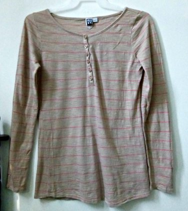 ROXY Long Sleeve*Beige*Striped Top*100% Cotton*Size XL