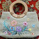 Beige Staw Bag with Floral Design with Sequins Embellishment*Wooden Handles