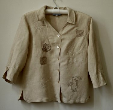 Robert Louis 3/4 Sleeve*V-Neck*Button Down Shirt*Embroidery Design*Size M*