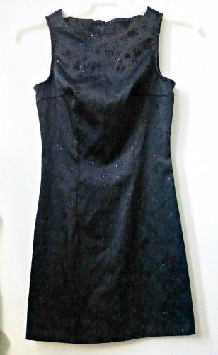 Byer Too! California Sleeveless Black Dress*Floral*Metallic*Back Zipper*Size 5