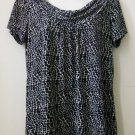 Rafaella Size S Short Sleeve Animal Print Top Drape Neckline Black White