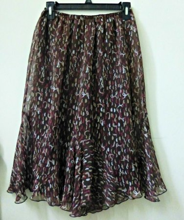 Pine Needles Size M Multi-Color Sheer A-Line Skirt Elastic Waist Casual