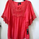 NWT NEW DIRECTIONS Size S Coral Short Sleeve Casual Peasant Blouse Lace/Crochet