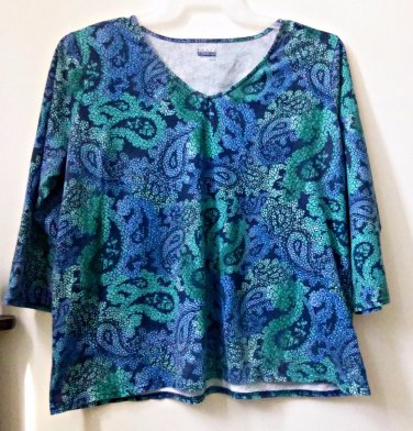 Basic Editions Size XL Long Sleeve V-Neck Paisley Casual Top Multi-Color Cotton