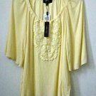 NWT Melissa Paige Size S Lemon Yellow 3/4 Sleeve Peasant Blouse Crochet Detail