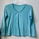 Petites Talbots Size M Blue Long Sleeve Top Sweater Beaded V-Neck 100% Cotton